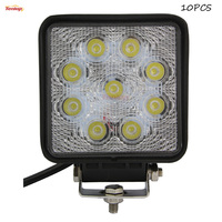 4 3 Inch 9 3W Square 27W LED Round Work Tuning Light For Jeep SUV Boat