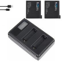 Orijinal Pil Için Gopro hero 4/USB LCD çifte şarj makinesi pil şarj cihazı AHDBT 401 Orijinal pil Kamera Aksesuarları Palyaço Balığı