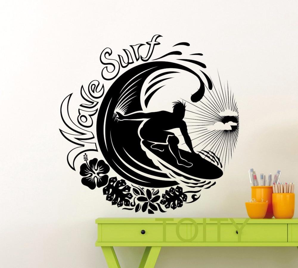 Wave Surf Surfing Logo Wall Sticker Adventure Sea Ocean