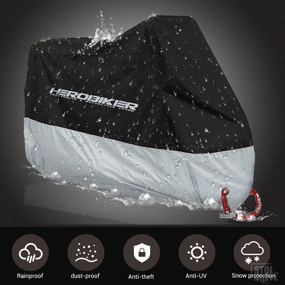 HEROBIKER Motorcycle Cover Motorbike Bike Cover Waterproof Dustproof UV Protective Outdoor Indoor Moto Scooter Rain Cover