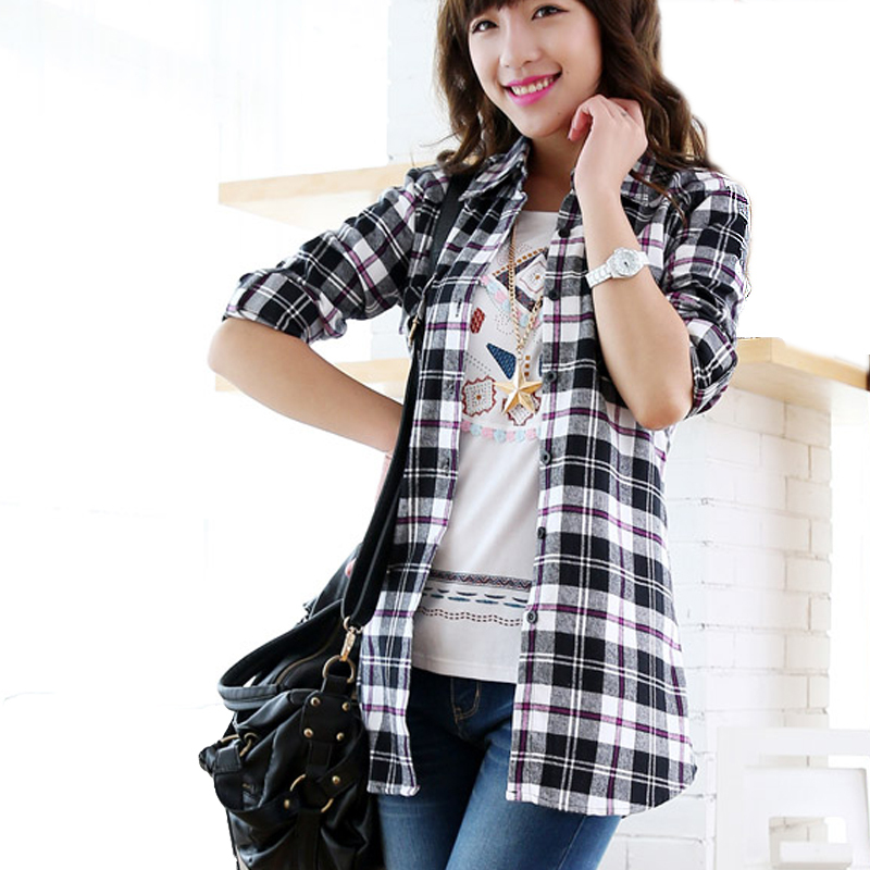 a77fc031 Women Tops 2015 New Arrival Long Sleeve Lapel Fitted Cotton Black and White  Plaid Checkered Shirt for Women Blusas Femininas