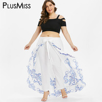 PlusMiss Plus Size 5XL 4XL Summer Skirted Pant Women White Print Loose Palazzo Capri Pants Chiffon Bohemian Boho Beach Trousers