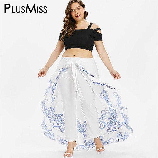 46ac0b1a3d PlusMiss Plus Size 5XL 4XL Summer Skirted Pant Women White Print Loose  Palazzo Capri Pants Chiffon