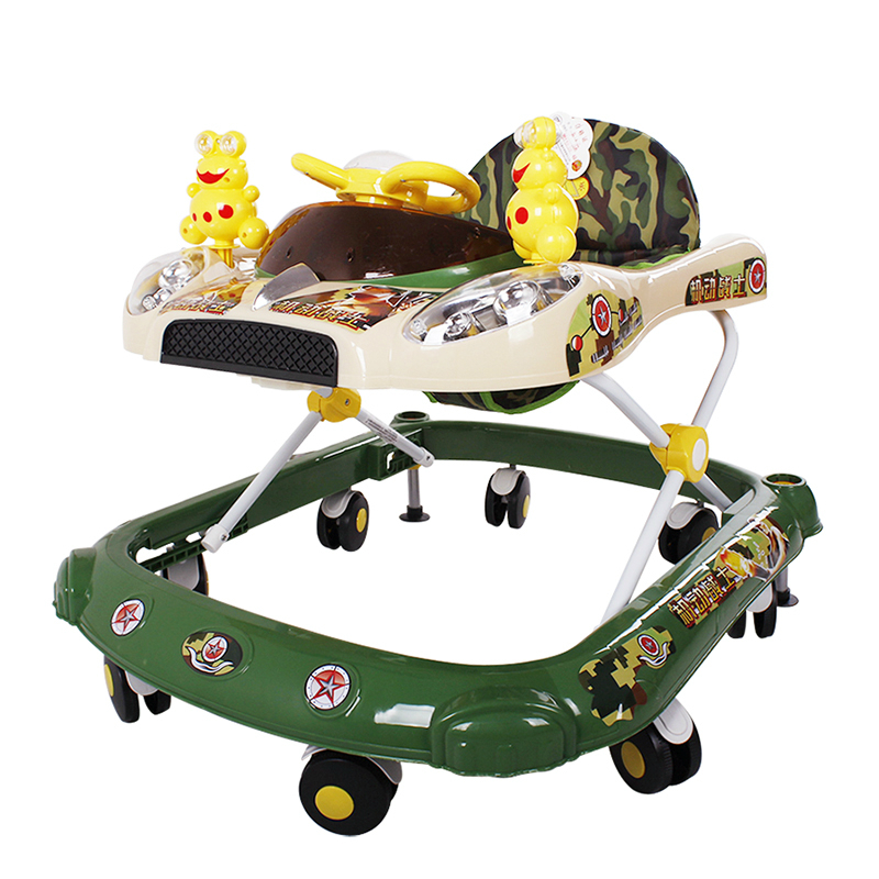 Hot Sell Baby Children Walker Rollover Prevention Infant Baby Walkers Step Car Multifunctional Music Toy Plate Walker Foldable musical and flashing light baby walker cheap kids walker hot sale walkers