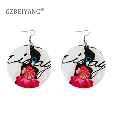 GZBEIYANG African Personality Design Printed Wooden Pendant Earrings for Sweet and Lovely Girls Jewelry Gifts