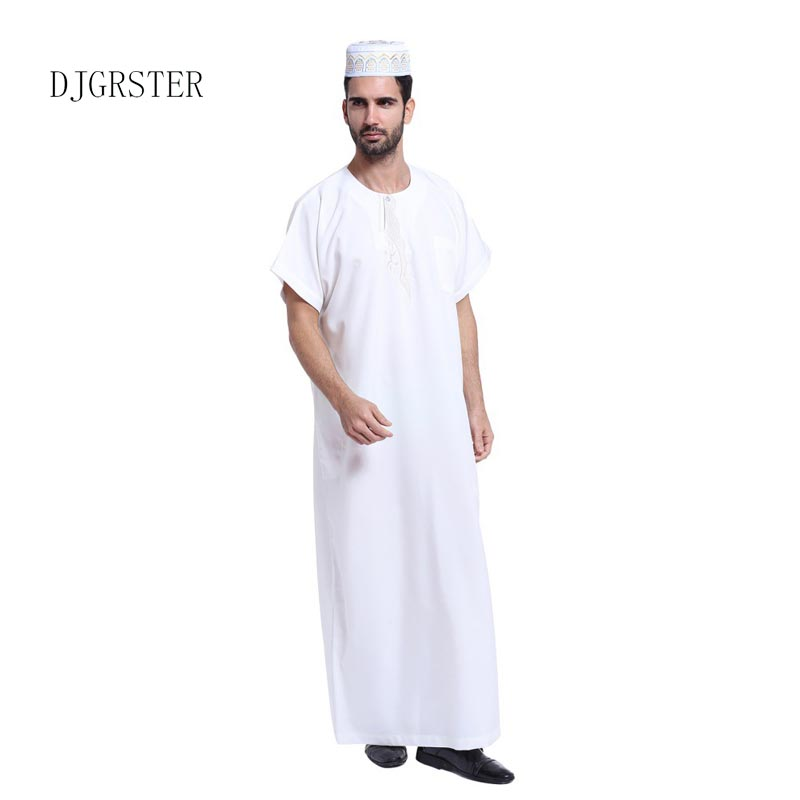 DJGRSTER 2019 New Fashion Men Arab Kaftan Saudi Thobe Thoub Abaya Robe Daffah Dishdasha Muslim Clothing For Men S-XXXL 4 colors
