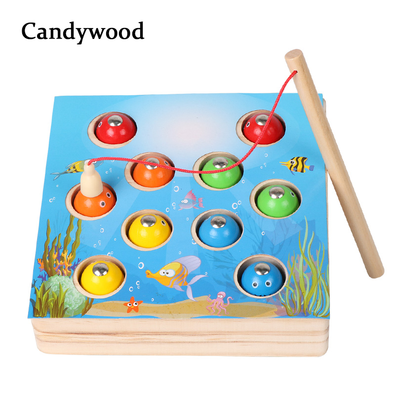 Children Wooden Toys Magnetic Games Fishing Toy Game Kids 3D Fish Baby Kids Educational Toys Outdoor Funny Boys Girl funny monkey climbing board game kids falling tumbling family toy safe plastic sharing educational toys for kids