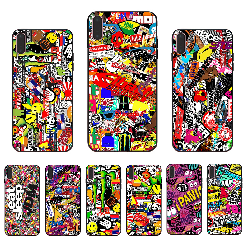 IMIDO Disorganized picture black silicone Half-wrapped phone case For iPhone6 7 8 5 X XS XR XSmax 5/6s 6/7/8plus SE fitted shell