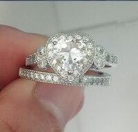 2018 Новое поступление ее подарок Винтаж Jewelry 925 пробы Серебряное сердце Форма AAAAA циркония Пара Кольца Вечности Свадебные
