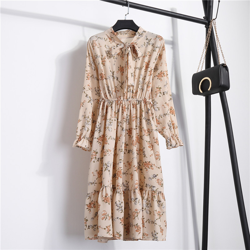Butterfly Long Sleeve O-neck Floral Bohemian Dress