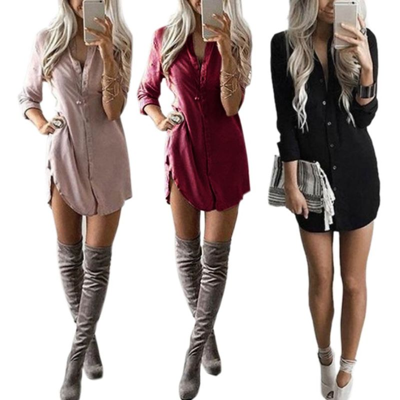 Women Plus Size Spring Long Sleeve Midi Blouse Dress Solid Color Button Down Deep V-Neck Tops Office Lady Loose Curved Hem Shirt
