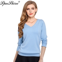 Knitted Cashmere Sweater Women New 2017 Autumn Spring Fashion Women Sexy V Neck Knit Candy Color