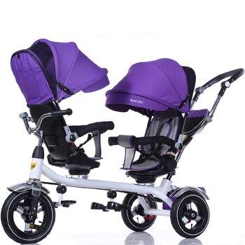b06305d67 Cochecito de bebé doble triciclo 3 ruedas cochecito doble para niños  gemelos asiento de barandilla bebé niño bicicleta coche triciclo Niño