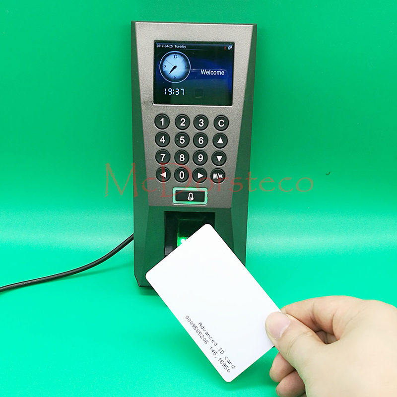 Optional Spanish,Arabic Biometric fingerprint Door Access Control System TCP/IP F18 & rfid fingerprint Door Security Controller tcp ip biometric face recognition door access control system with fingerprint reader and back up battery door access controller