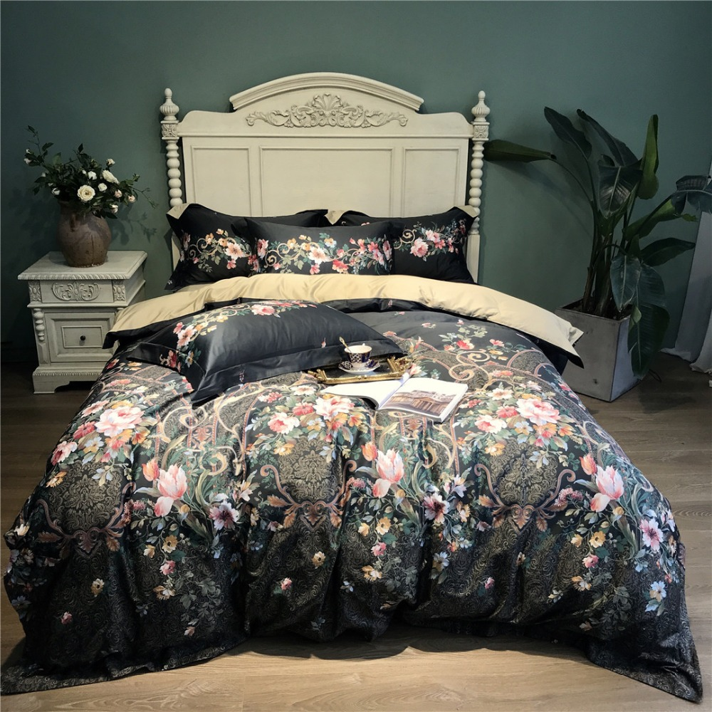 Printed Sheet Sets Us 147 9 49 Off Luxury Black Floral Printed Egyptian Cotton Bedding Sets Queen King Pastoral Duvet Cover Bed Sheet Set Pillowcases 4pcs 14 Color In