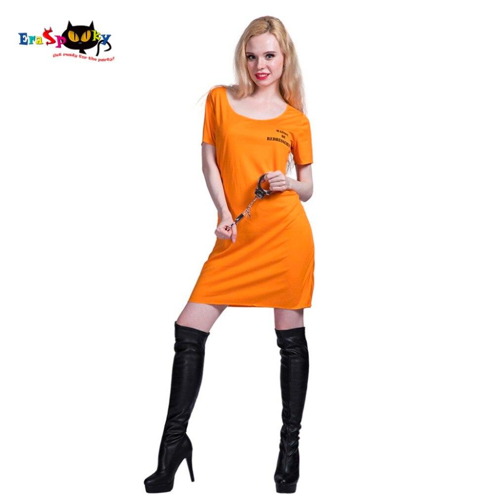 Frauen Sexy Orange Insasse Gefangen kostüm Kleid Cosplay Partei ...