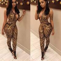 Skinny Backless Jumpsuit Romper Plus Size Halter Floral Print Body Suits for Women V Neck Sleeveless Playsuits