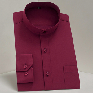 Image 3 - Chinease Stand Kraag Solid Plain Regular Fit Lange Mouwen Party Mandarijn Bussiness Formele Shirts Voor Mannen Met Borstzak