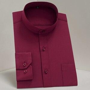 Image 3 - Chinease stehkragen solide plain regular fit langarm party Mandarin bussiness formale shirts für männer mit brust tasche