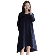 (Ship from US) Womens Winter Warm Paisley Long Sleeve O Neck Printed Maxi  Dress Kaftan Dress Long sleeve plus velvet print dress New Fashion de4d26d80ace
