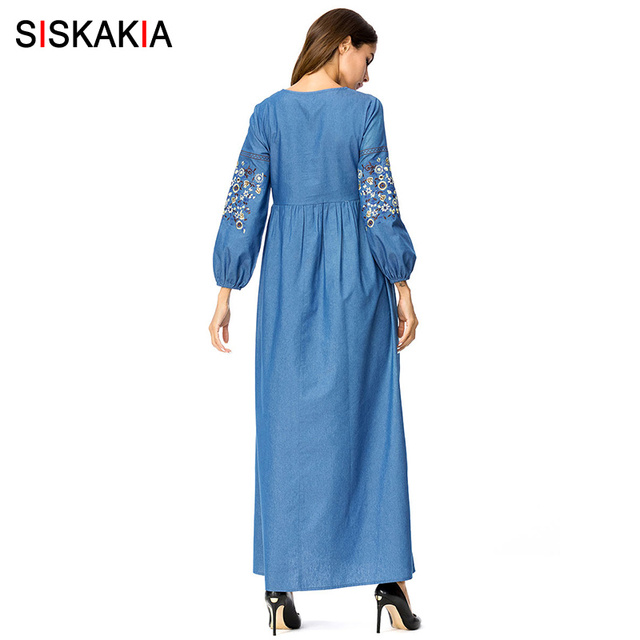 Siskakia Maxi Denim Long Dress Floral embroidery high waist Draped swing Dress Autumn Fall 2018 Dubai Arab UAE clothing 3XL 4XL