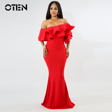 OTEN Elegant Ladies vestido de festa Women Sexy Ruffle Special Occasion Dinner  dress 829aebf6cee6