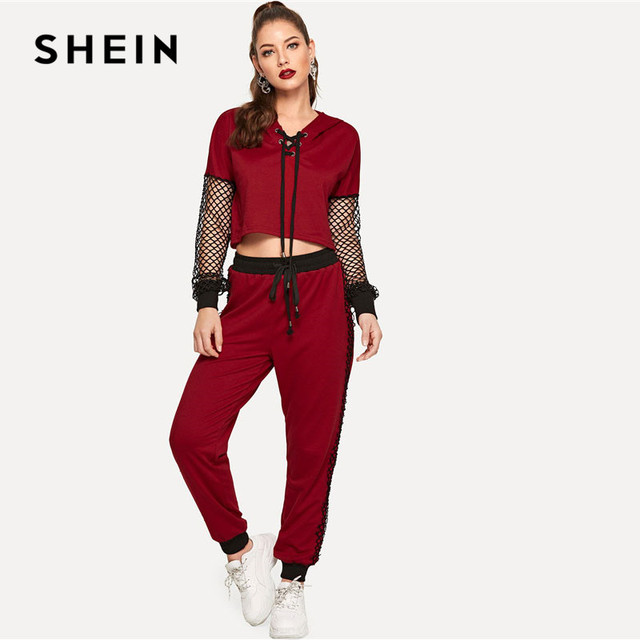SHEIN Burgundy Lace Up Fishnet Sleeve Hoodie And pants Set Sporting Casual Two Piece Set Top and Pants Women Two Piece Outfits