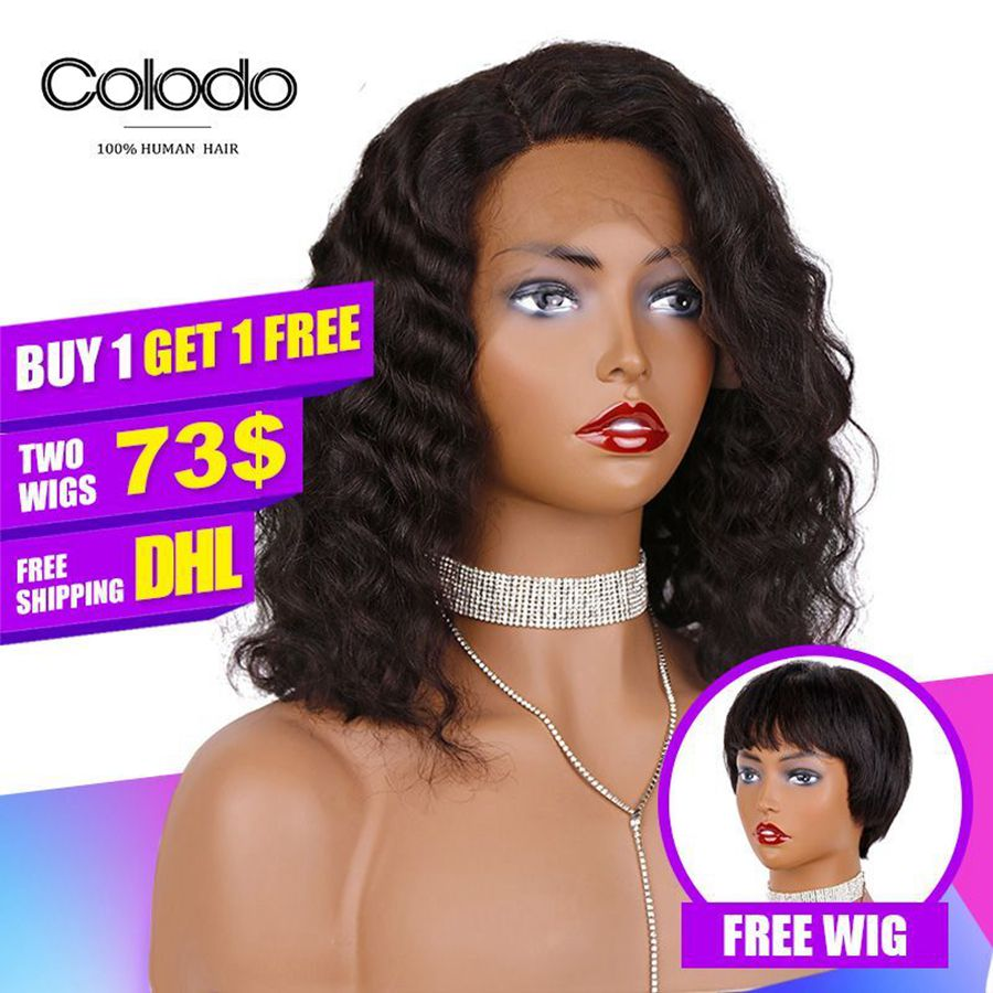 COLODO Buy 1 Get 1 Free L Part Lace Front Wig Brazilian Remy Hair Deep Wave