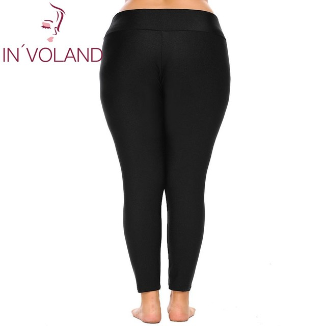 Large Size Women Leggings XL-4XL Fold Over Waist Solid Large Ladies Stretch Fitness Elastic Trousers Pant Plus Size