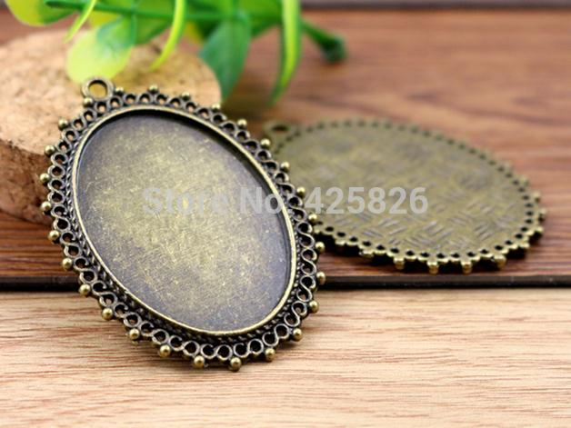 New Fashion  5pcs 30x40mm Inner Size Antique Bronze Pierced Style Cabochon Base Setting Charms Pendant (B2-03)