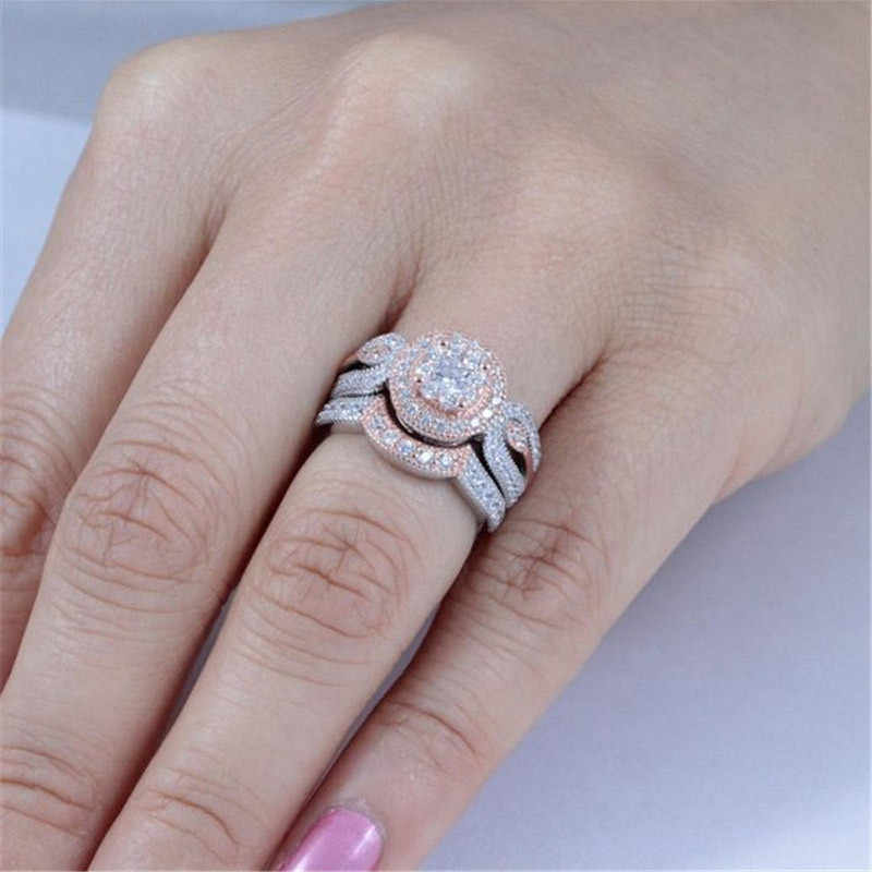 ZORCVENS 2019 Gold and Silver Color Ring Set Hearts & Arrows cut Cubic Zirconia Aneis Engagement Ring For Women
