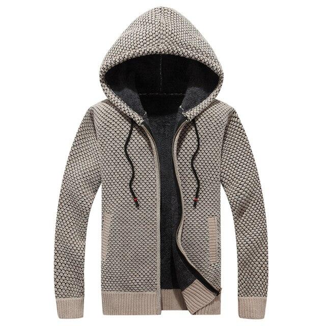 05430005d72d Tace & Shark camisola de inverno da marca homens casaco com capuz zipper  camisolas lã grossa cardigan dos alta qualidade sólida agasalho quente