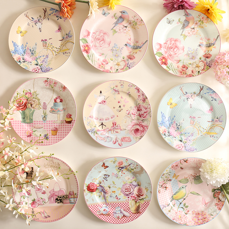 Wourmth Pastoral Bone China Dishes And Plates Porcelain Cake Dish Pastry Fruit Tray Ceramic Tableware Steak Dinner Plates