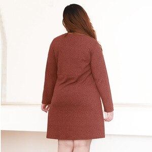 Image 4 - Плюс размер 10XL 8XL 6XL 4XL,Российские размеры 66, 62, 58, 54 женское осеннее трикотажное платье пуловер с v образным вырезом, пуловер полной длины для женщин, платье миди