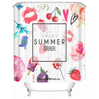 Three Size Cute Design Bathroom Shower Curtains With Hooks Durable House Bath Accessories Children Room Drapes