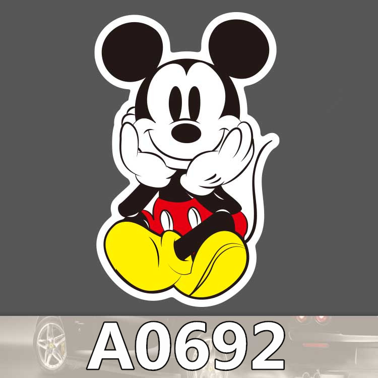 Bevle A0692 Mickey Mouse Waterproof Sticker Single Sale Cool Laptop Luggage Fridge Skateboard Graffiti Cartoon Notebook Stickers image