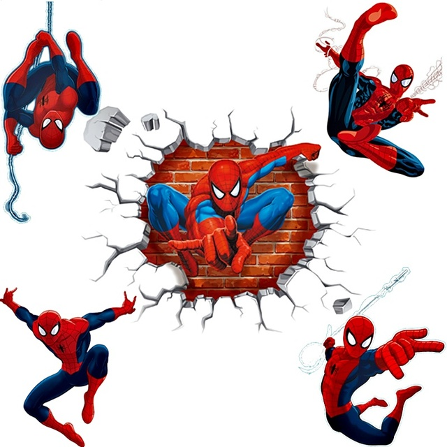 3d effect hero spiderman wall stickers for kids rooms