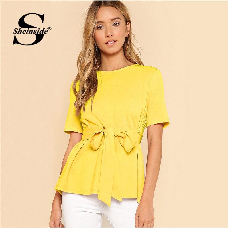 Sheinside Self Belt Keyhole Button Back Solid Top Yellow Short Sleeve Round Neck Blouse Women Summer OL Work Elegant Blouse