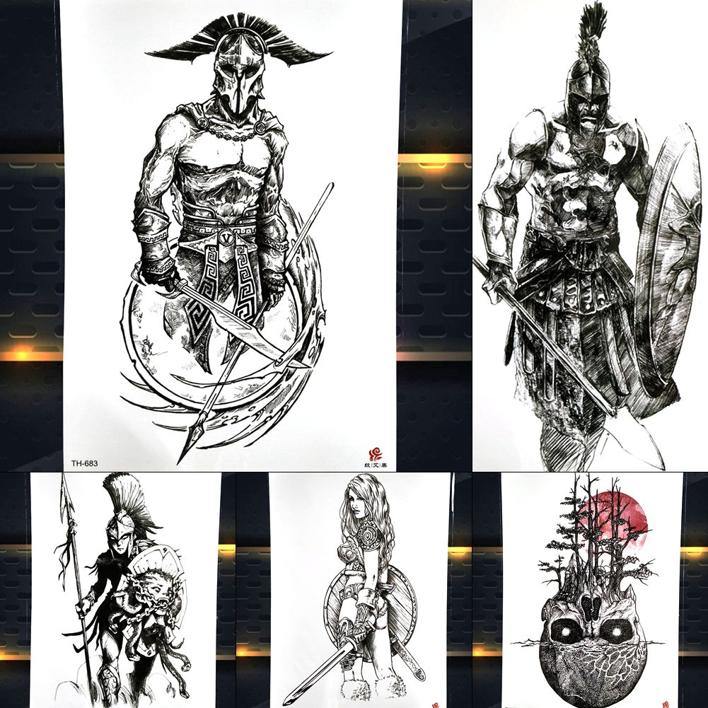 Hero Of Sparta Warrior Temporary Tattoo Stickers Waterproof Fake Knight Brave Man Waterproof Large Arm Tattoo Paper Decal Men