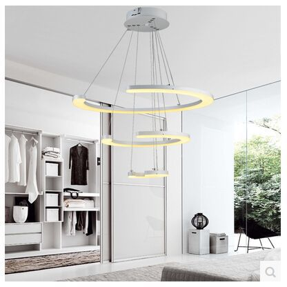 The dimming control LED acrylic circular pendant lamp Contracted sitting room dining-room lamp creative bedroom study lamp Free