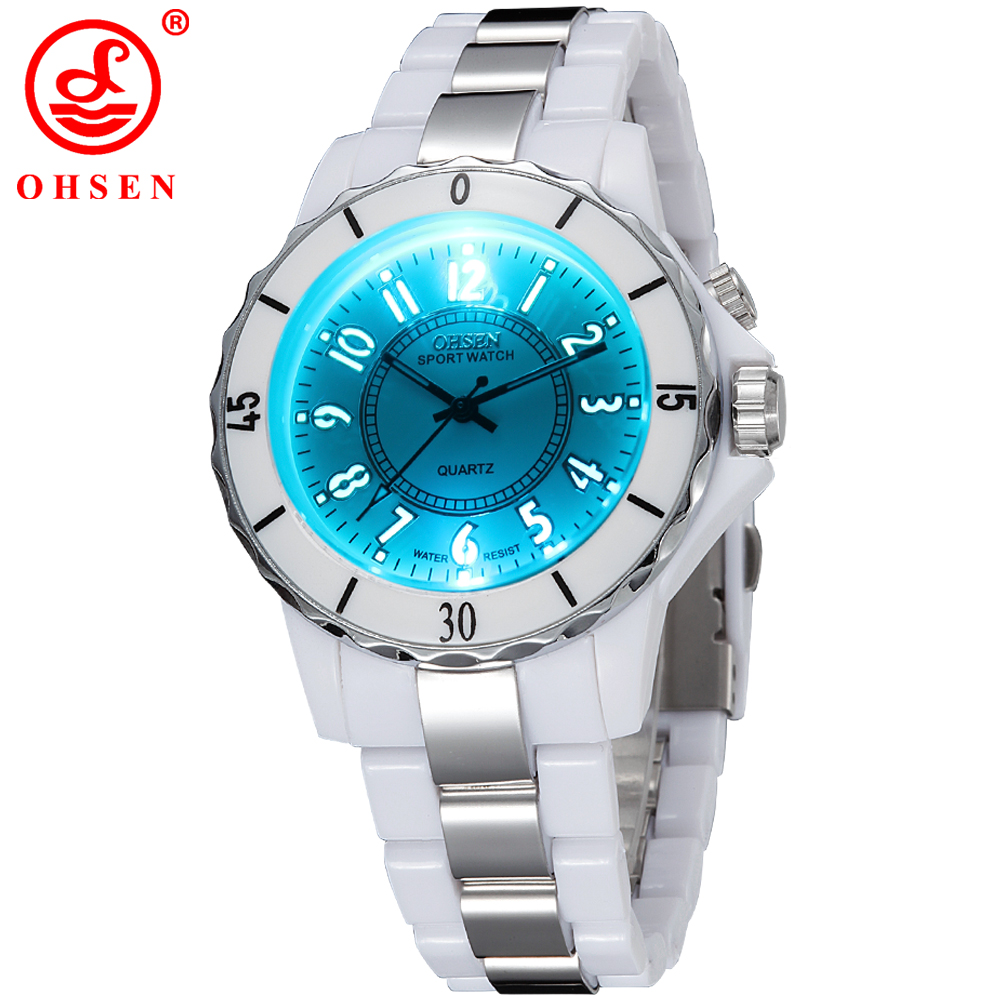Prix pour Ohsen hodinky femmes de blanc de luxe étanche sport montres 7 multi-couleur led lumière horloge montre oh02 relogio esportivo feminino