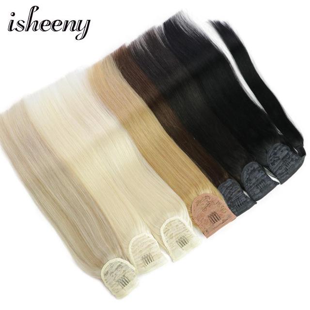 """Isheeny brasileño cabello humano Remy extensiones de cola de caballo recto 14 """"18"""" 22 """"Clip en extensiones de cabello humano"""