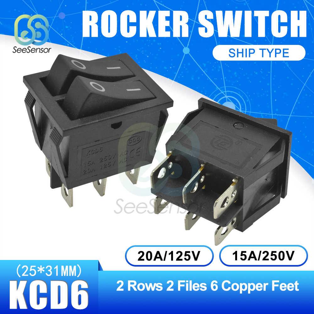 KCD6 Saklar Rocker Perahu Saklar Daya 15A 250V 20A 125V On-Off 2 Posisi 4 Pin/ 6 Pin