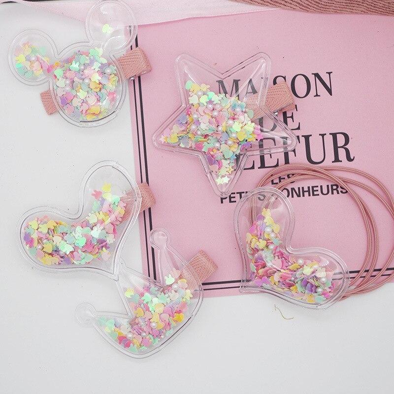 New Korean Children's Transparent Crown Love Stars Mickey Hair Clips Sweet Girl Cute Imitation Pearl Bag Hairpins Hair Rope