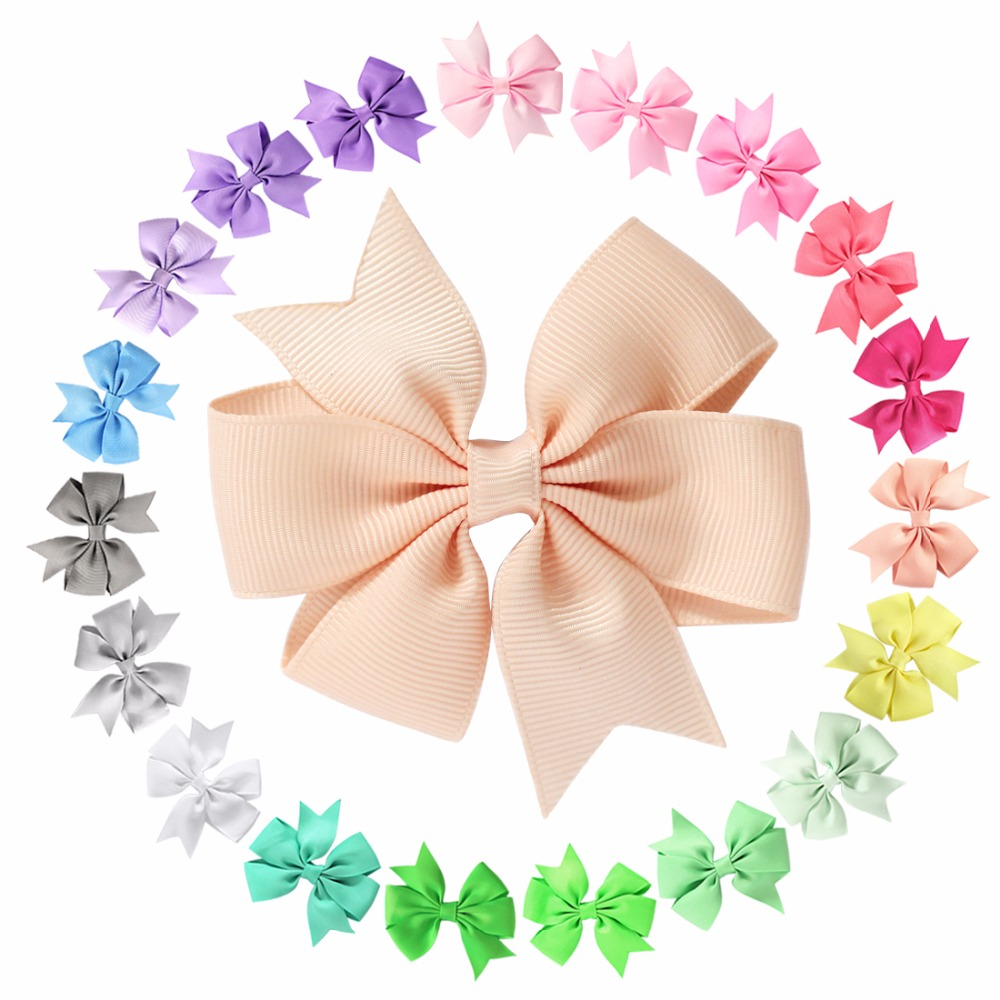 цена на 20pcs/lot Baby Girl Toddler Hair Bows Alligator Clip Grosgrain Ribbon Headband Infant Headband Lace Hairband Flower Headdress