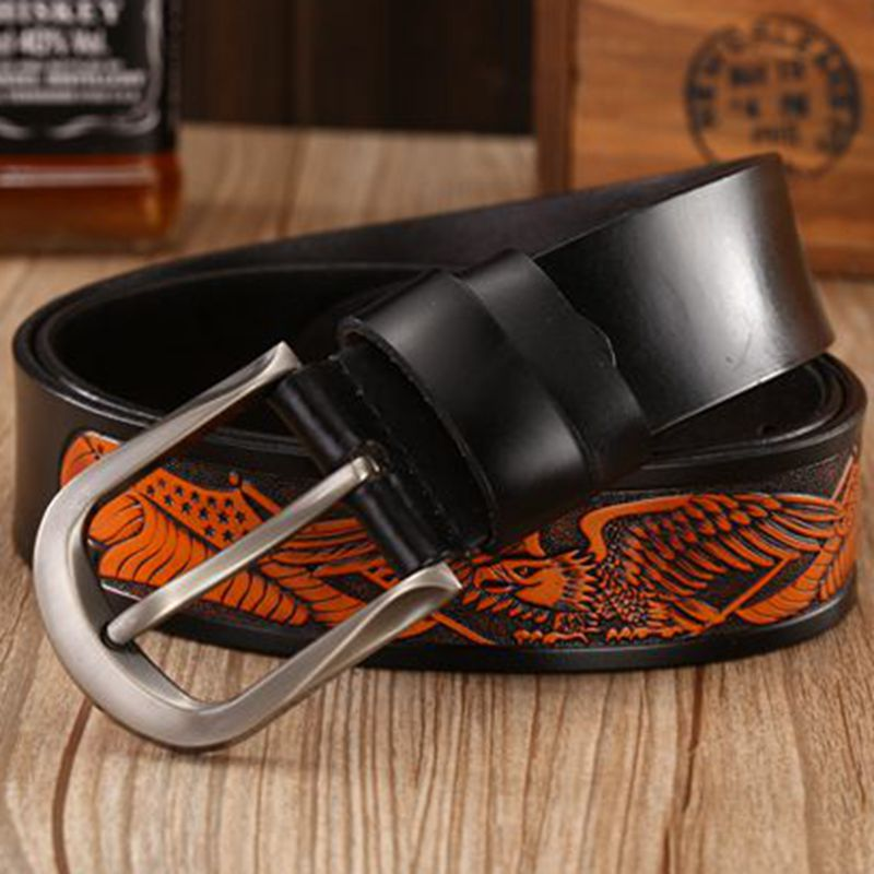 Pin Buckle Handcrafted Eagle Real Leather Belt