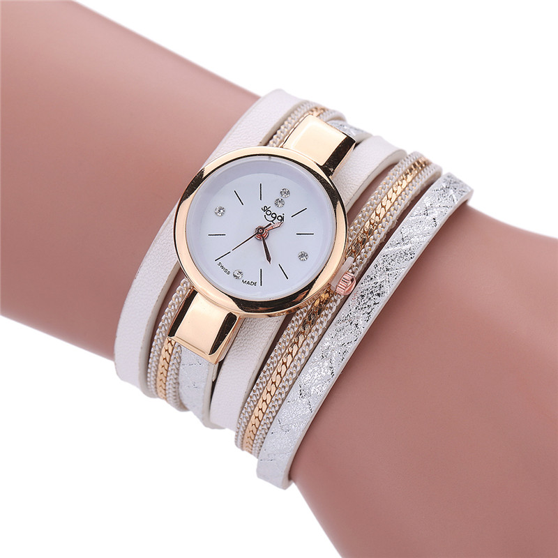 2017 women bracelet watch montre femme leather band bracelet quartz braided winding wrap. Black Bedroom Furniture Sets. Home Design Ideas