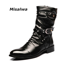 Misalwa Mens Black Real Leather Height-Increace Boots Motorcycle Chelsea Spring Winter Snow Warm Wollen Casual Zipper