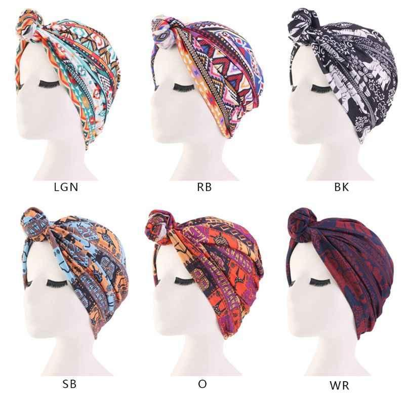 Женская тюрбан из хлопка, шляпа, плетеная, завязанная спереди, индийская Кепка chemo, этнический геометрический цветочный принт, эластичная шапочка для выпадения волос, повязка на голову
