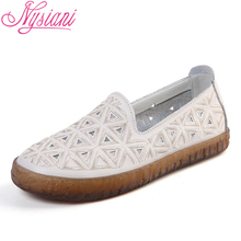2019 Spring Summer Women Flat Shoes Split Leather Low Heels Loafers Brand Designer Round Toe Casual Students Nysiani